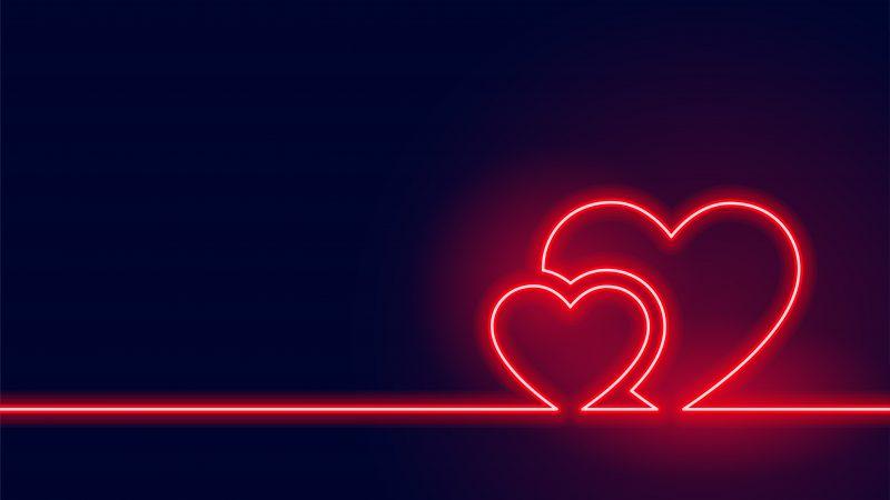 coeurs neon rouges saint valentin fond noir